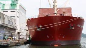 Navio de carga carregado com o frete video estoque