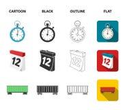 Navio de carga, cronômetro, calendário, carro railway Logístico, ajuste ícones da coleção nos desenhos animados, preto, esboço, v ilustração royalty free