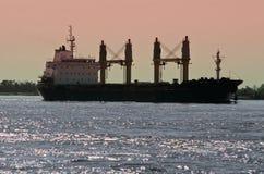 Navio de carga do portador de maioria no rio Mississípi Fotografia de Stock Royalty Free