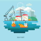 Navio de carga do recipiente carregado pelo guindaste do porto ilustração do vetor