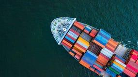 Navio de carga do recipiente da vista aérea, inte de envio do frete do negócio fotografia de stock royalty free