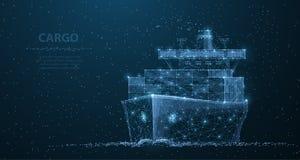 Navio de carga mundial Arte poligonal da malha do wireframe Transporte, ilustração logística, enviando do conceito ou ilustração royalty free
