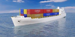 Navio de carga no mar Imagens de Stock Royalty Free
