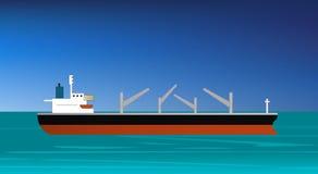 Navio de carga que aproxima ou que entra no porto ilustração stock