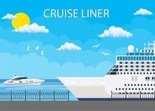 Navio de cruzeiros ancorado no porto marítimo, ilustração do vetor