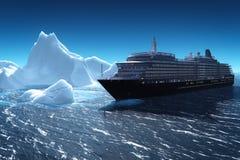Navio de cruzeiros e iceberg