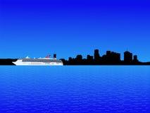 Navio de cruzeiros e Nova Orleães ilustração stock