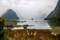 Navio de cruzeiros grande em Milford Sound imagens de stock royalty free