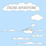 Navio de cruzeiros na ilustração lisa do vetor do estilo do mar Fotografia de Stock Royalty Free