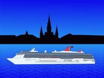 Navio de cruzeiros Nova Orleães ilustração royalty free