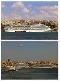 Navio de cruzeiros, passo de Istambul, Turquia fotos de stock royalty free