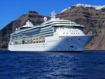 Navio de cruzeiros, Santorini Fotografia de Stock