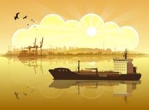 Navio de encontro à costa ilustração royalty free