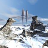 Navio de espaço estrangeiro do UFO ilustração stock