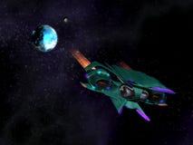 Navio de espaço estrangeiro na ação no espaço Foto de Stock