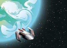 Navio de espaço na órbita ilustração stock