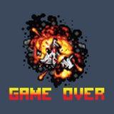 Navio de espaço no jogo do pixel do fogo sobre a ilustração da arte do pixel da mensagem Fotografia de Stock Royalty Free