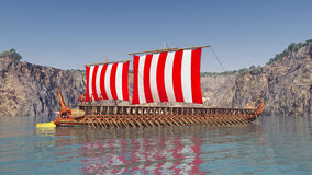 Navio de guerra do grego clássico Fotografia de Stock Royalty Free