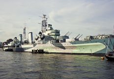 Navio de guerra do HMS Belfast Foto de Stock Royalty Free