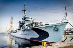 A navio de guerra em Gdynia Fotografia de Stock Royalty Free