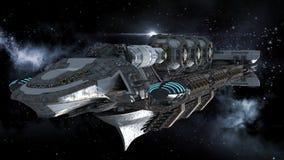 Navio de guerra estrangeira na viagem espacial profunda Imagem de Stock