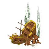 Navio de madeira velho quebrado cercado por raizes Fotos de Stock