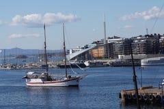 Navio de navigação em Oslofiord Fotos de Stock Royalty Free