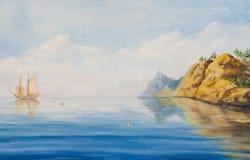 Navio de navigação na âncora perto de uma costa rochosa ilustração royalty free
