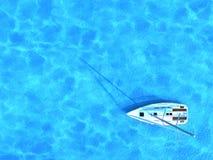 Navio de navigação no meio do oceano, vista superior, fundo do verão Imagens de Stock Royalty Free