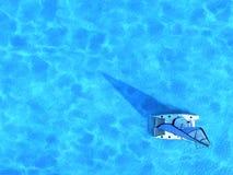 Navio de navigação no meio do oceano, vista superior, fundo do verão Fotografia de Stock