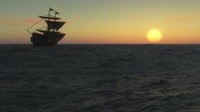 Navio de navigação no por do sol ilustração do vetor