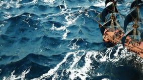 Navio de pirata velho no oceano ilustração stock