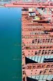 Navio de recipiente no porto de Long Beach, Califórnia fotografia de stock