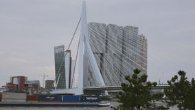 Navio de recipiente que passa a ponte em Rotterdam filme