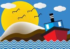 Navio do barco do forro de oceano na opinião do mar na noite com lua grande Imagem de Stock Royalty Free