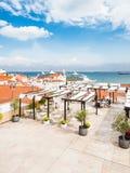 Navio do cruzador no porto do cruzeiro de Lisboa fotos de stock