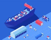 Navio do frete que descarrega a ilustração isométrica do vetor Transporte, empilhadeiras e caminhão da distribuição da expedição  ilustração stock