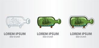 Navio do logotipo em uma garrafa Imagens de Stock