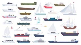Navio do mar Desenhos animados grandes do vetor da embarcação do oceano do barco a motor das ilustrações do esporte de barco do b ilustração stock