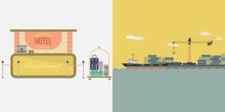 Navio do porto e fundo do hotel ilustração stock