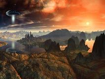 Navio do Saucer de vôo sobre a paisagem estrangeira Imagem de Stock Royalty Free
