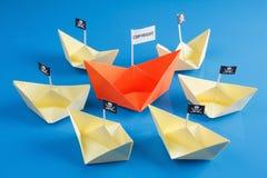 Navio e diversos barcos do pirata Fotografia de Stock
