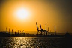 Navio e por do sol bonito Imagem de Stock