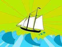 Navio em um mar tormentoso Fotografia de Stock