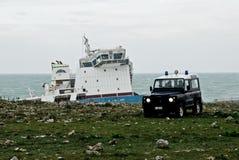 Navio encalhado da gasolina em Sicília Fotos de Stock Royalty Free