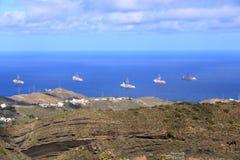 Navio ? estada da perfura??o de petr?leo e g?s no porto, ilha de Gran Canaria foto de stock royalty free