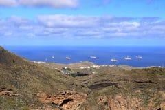 Navio ? estada da perfura??o de petr?leo e g?s no porto, ilha de Gran Canaria imagem de stock royalty free