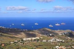 Navio ? estada da perfura??o de petr?leo e g?s no porto, ilha de Gran Canaria fotografia de stock