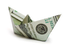 Navio feito do dinheiro Fotos de Stock Royalty Free