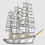 Navio feito dos dólares Imagens de Stock